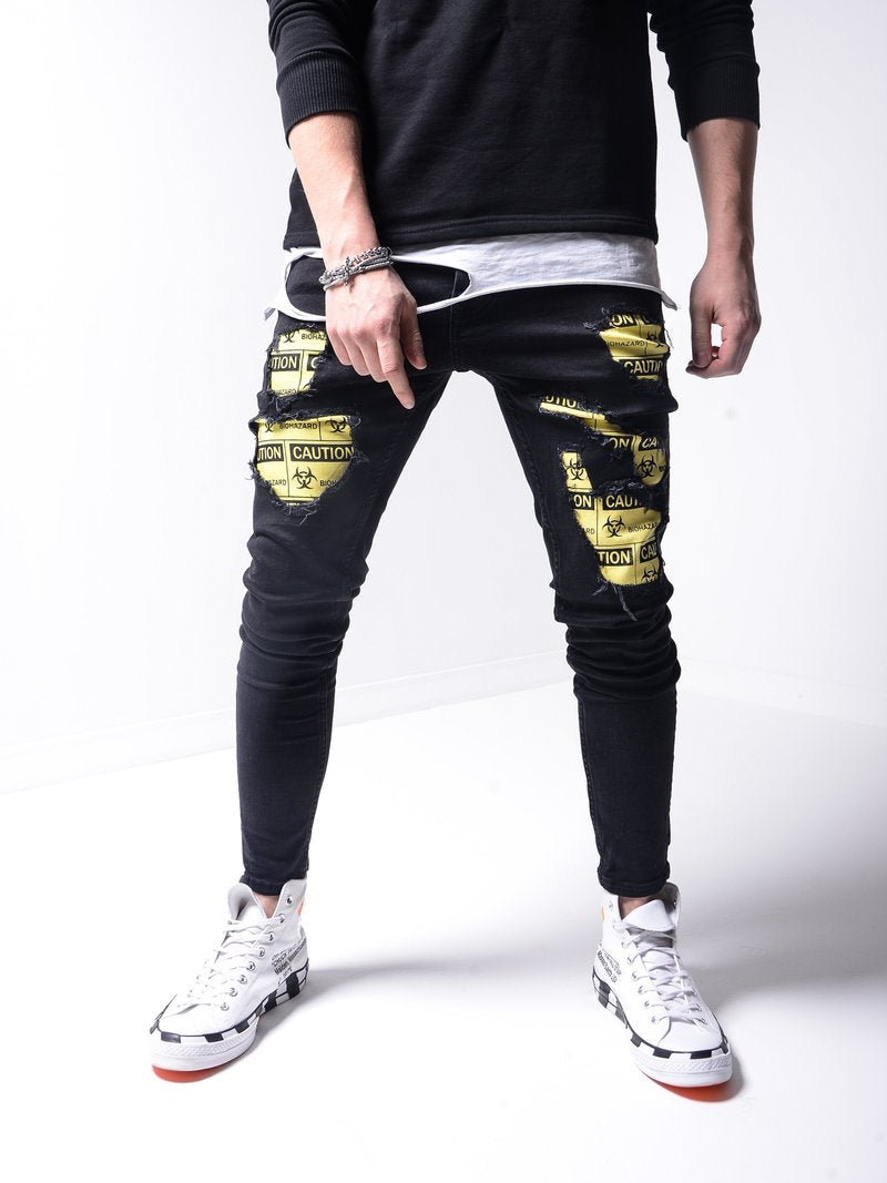 """Caution Biohazard"" Ripped Jeans - Black 4550"