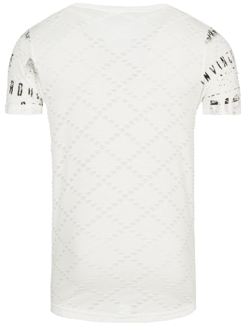 """Rich"" Faux Ripped Printed Graphic T-Shirt - White - FASH STOP"