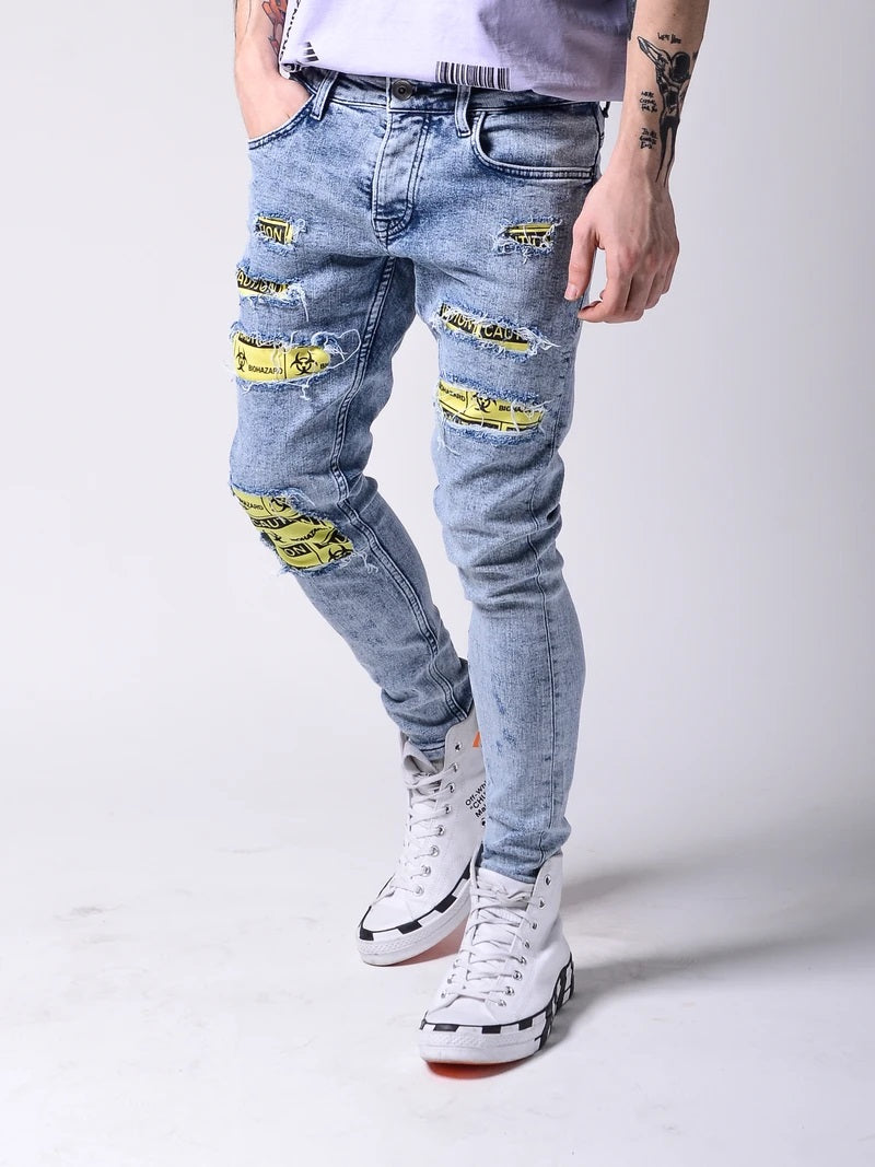 """Caution Biohazard"" Ripped Jeans - Washed Blue 4603"