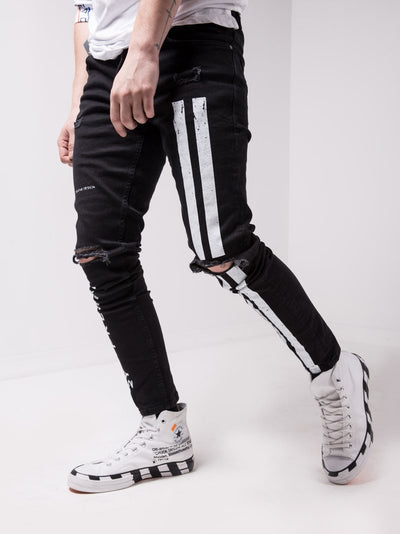 Dibsy Ripped Stripes Jeans - Black 4620