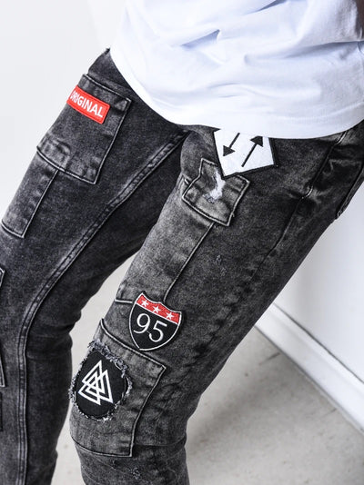 """Original"" Shield Patches  Jeans - Gray 4677"