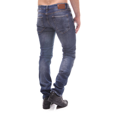 CoJ Men Slim Fit Biker Ribbed Knee Jeans - Blue - FASH STOP