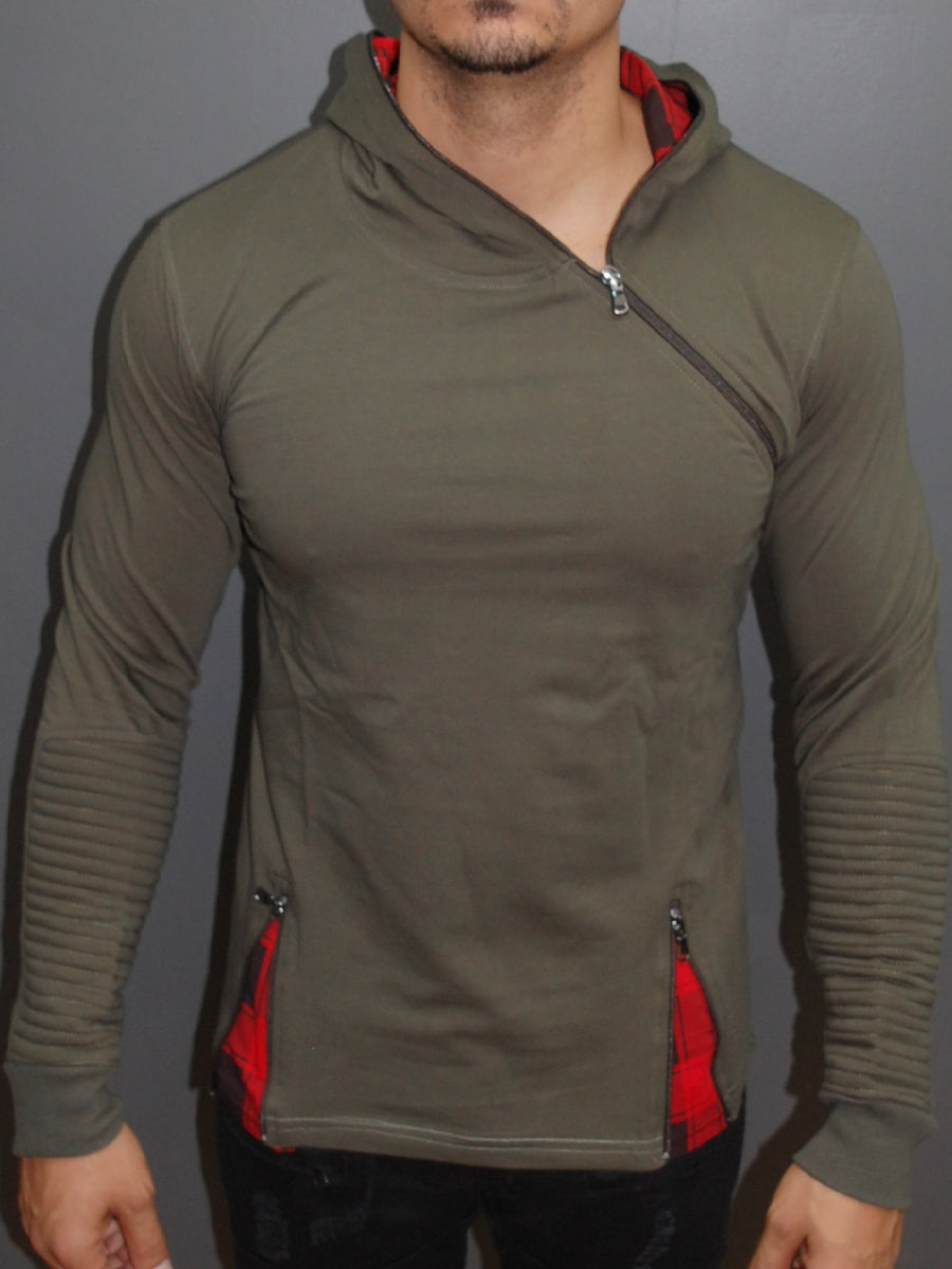 R&R Men Stylish Side Zipper Hoodie Sweater - Army Green