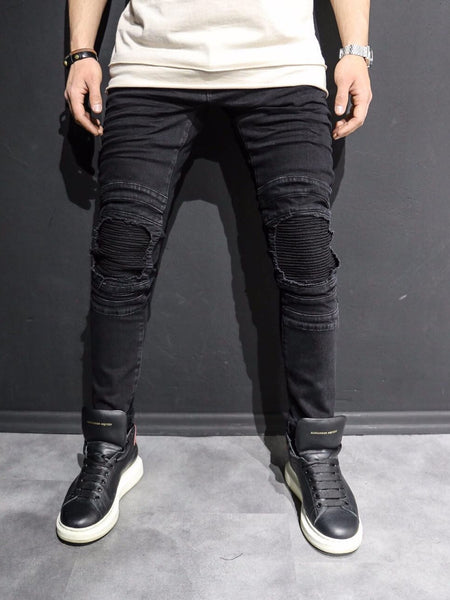 P&V Men Skinny Fit Ripped Ribbed Knee Jeans - Black