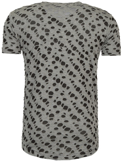 Y&R Men Crible Mock Holes Ripped T-Shirt - Gray