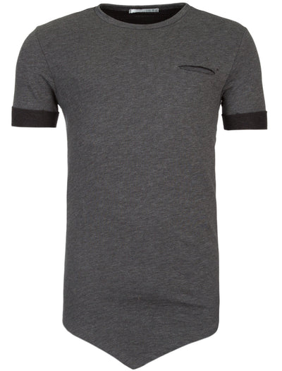 Y&R Men Asymmetrical Cut Pocket T-Shirt - Heather Gray