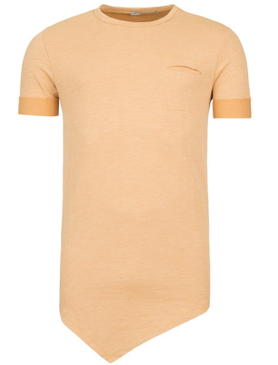Y&R Men Asymmetrical Cut Pocket T-Shirt - Orange