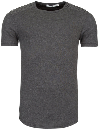Y&R Men Ribbed Shoulders T-Shirt - Heather Gray