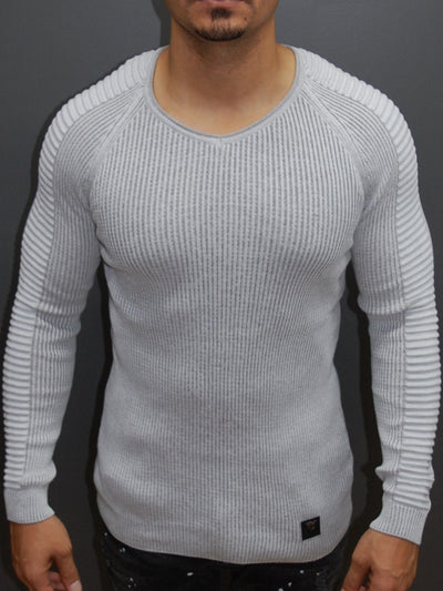 R&R Men Stylish Side Arm Ribbed V Neck Sweater - White