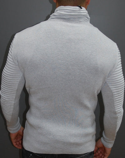 R&R Men Stylish Ribbed Zipper Mock Neck Sweater - White