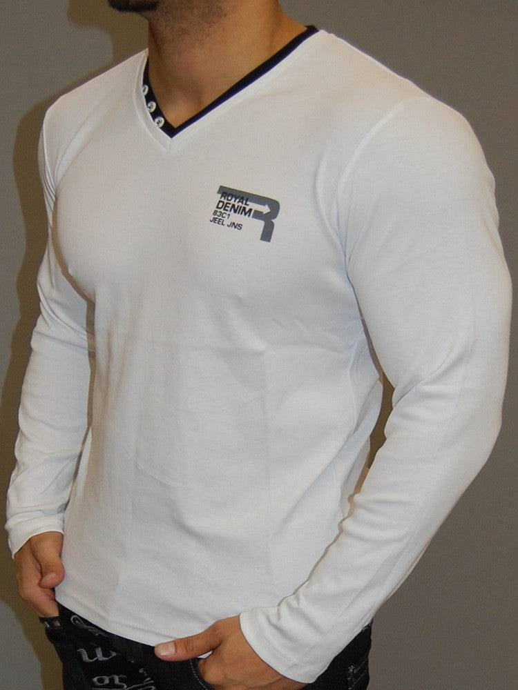 J&J MENS MUSCLE FIT ROYAL DENIM  L/S V-NECK T-SHIRT - WHITE - FASH STOP