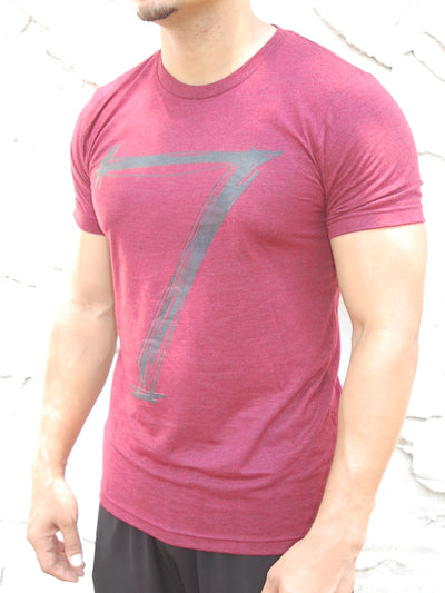 "Men Muscle Fit Graphic ""7"" T-Shirt - Burgundy - FASH STOP"