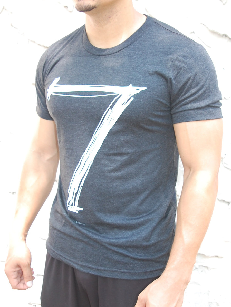 "Men Muscle Fit Graphic ""7"" T-Shirt - Heather Gray"