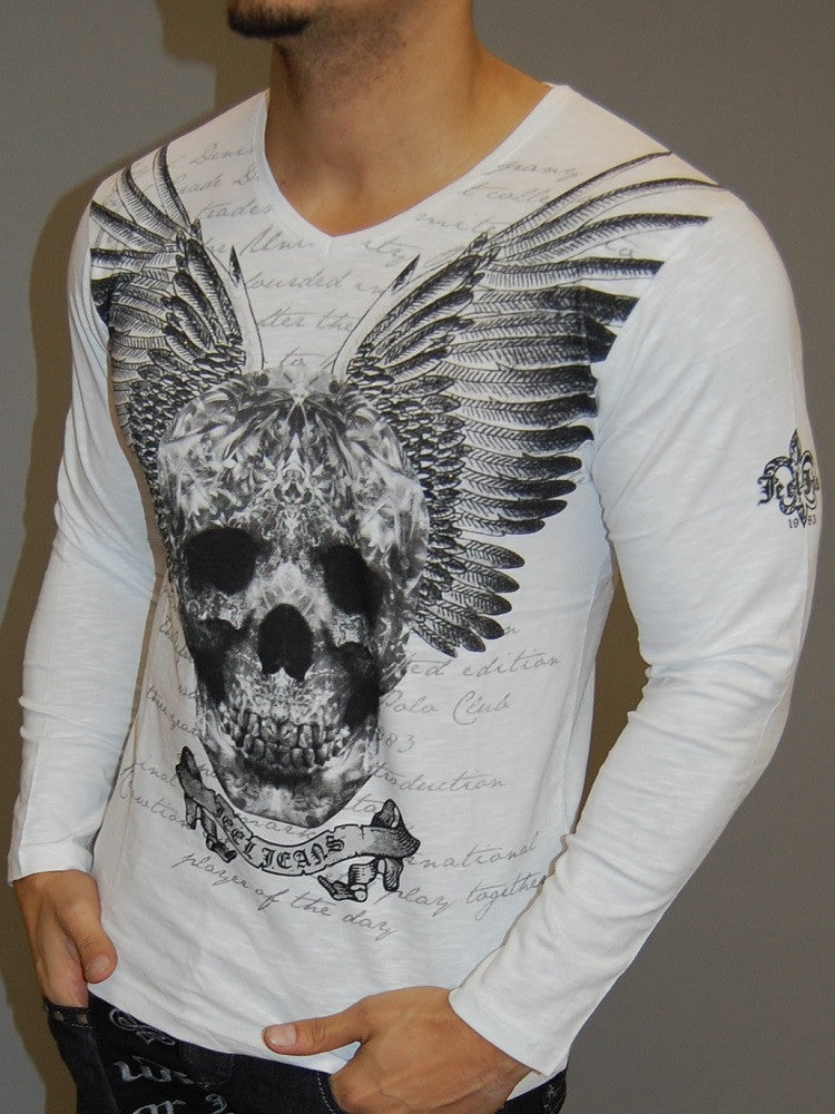 J&J MUSCLE FIT GRAPHIC SKULL WINGS L/S V-NECK T-SHIRT - WHITE - FASH STOP