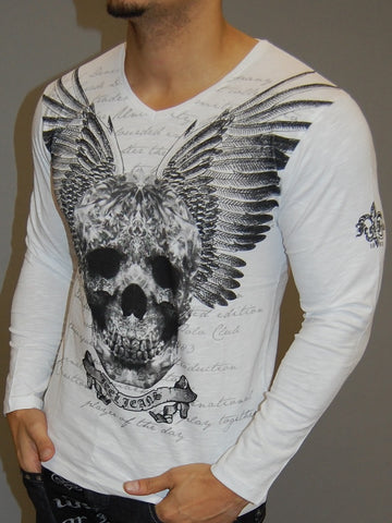J&J MUSCLE FIT GRAPHIC SKULL WINGS L/S V-NECK T-SHIRT - WHITE