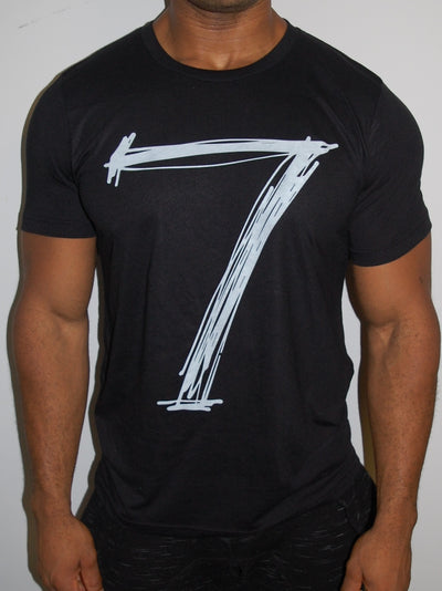 "Men Muscle Fit Graphic ""7"" T-Shirt - Black"