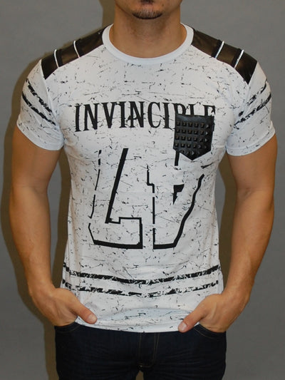 R&R Men Invincible 47 Graphic Faux Leather T-shirt - White