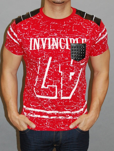 R&R Men Invincible 47 Graphic Faux Leather T-shirt - Red