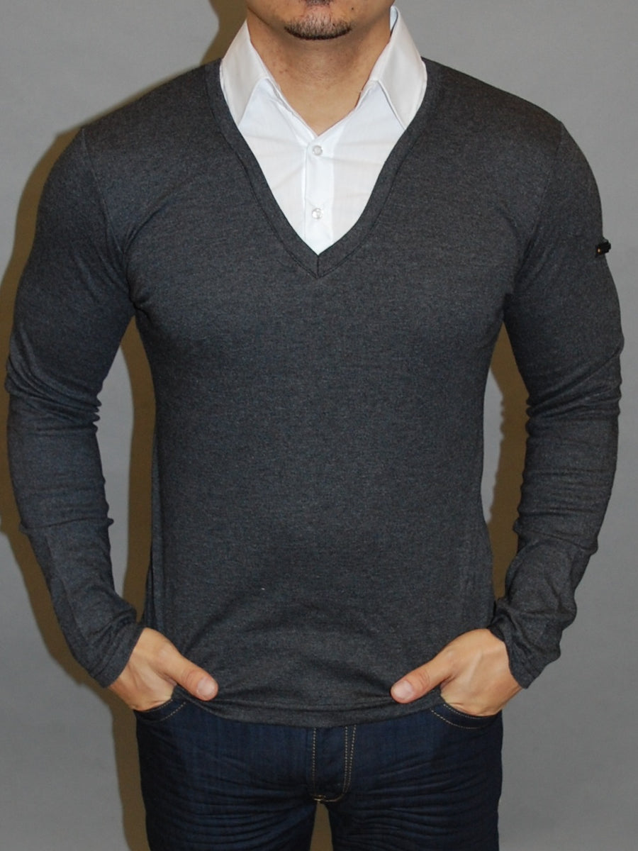 R&R Mens Stylish Fused Collar T-Shirt L/S - Heather Gray