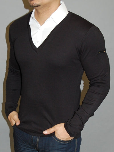 R&R Mens Stylish Fused Collar T-Shirt L/S - Black