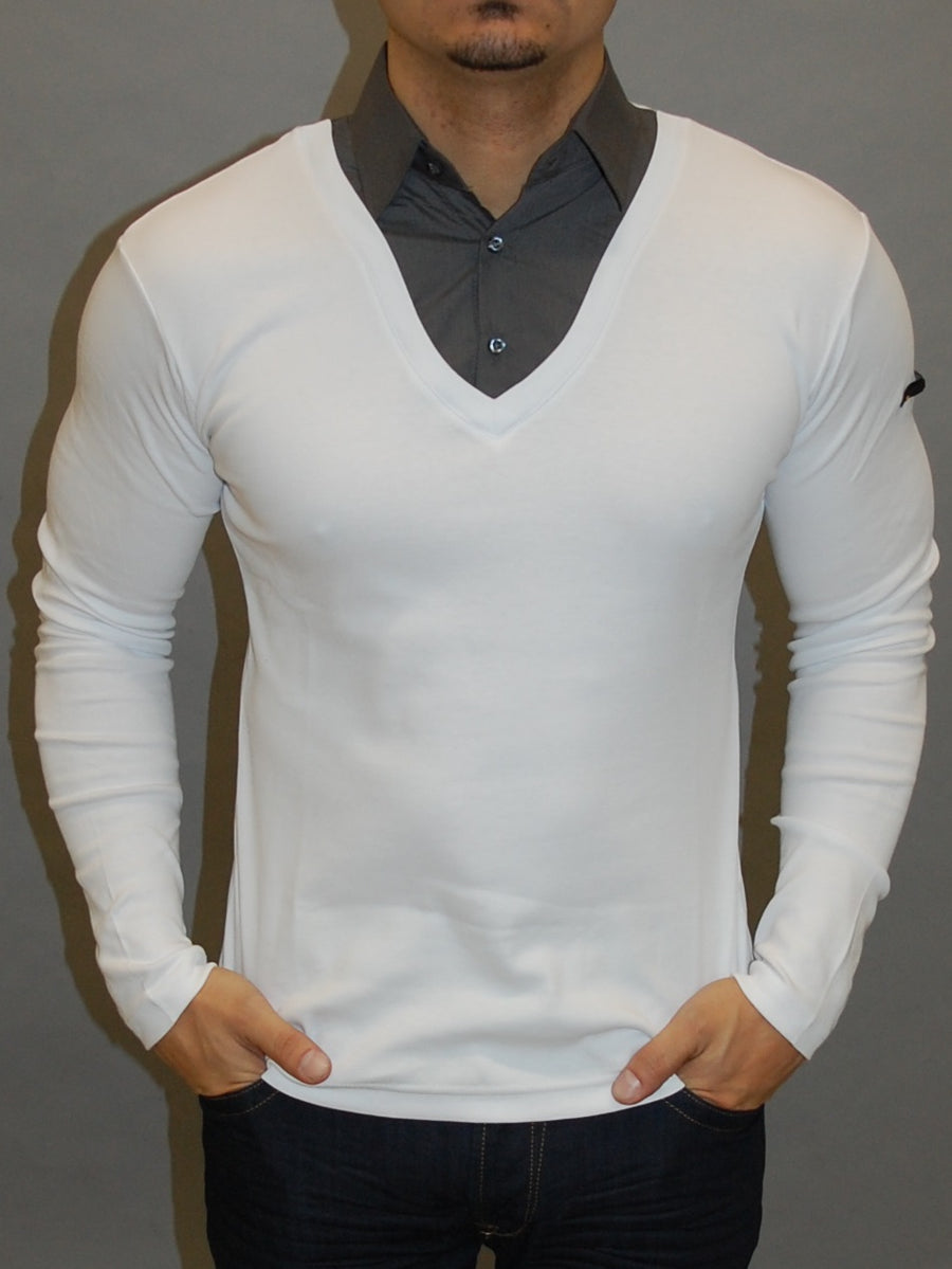 R&R Mens Stylish Fused Collar T-Shirt L/S - White