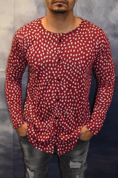 Spotted Long Sleeves Button Down Shirt - Red OS0003B