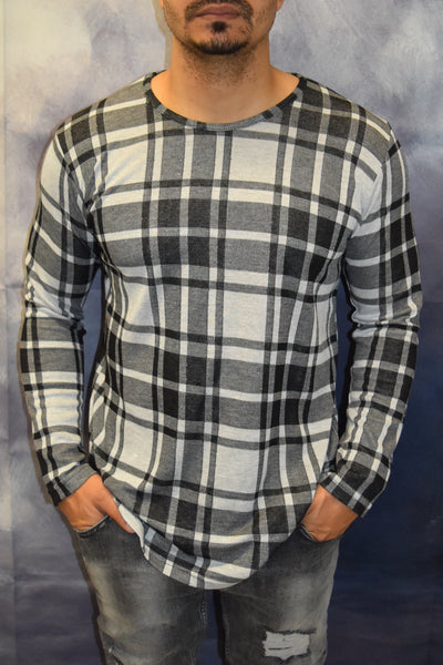 Plaid Flannel Long Sleeves T-Shirt - White Black OS0006A