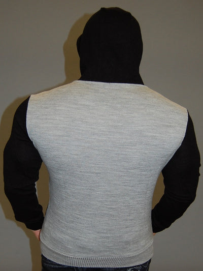 K&D MENS STYLISH 3 TONE HOODIE SWEATER - GRAY - FASH STOP