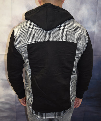 Checkered Plaid Hooded Jacket - White Black  OS0007