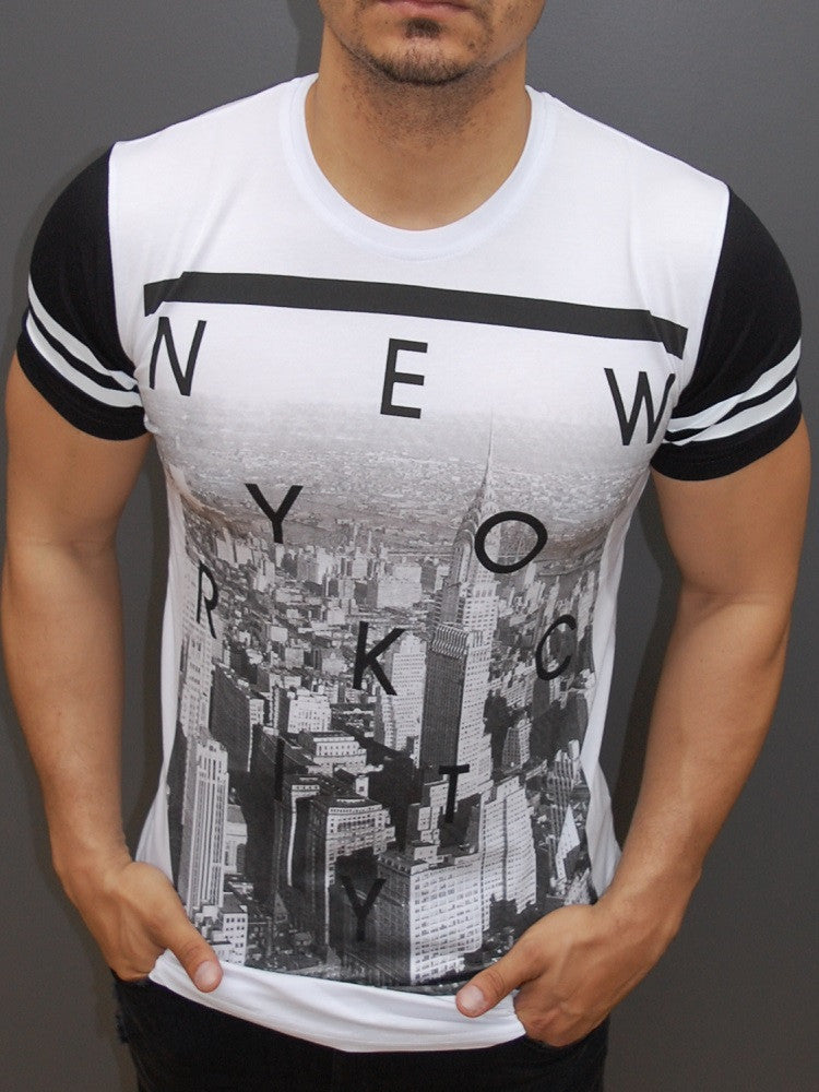 f675647f699 Y&R Men New York City Graphic T-Shirt - White - FASH STOP