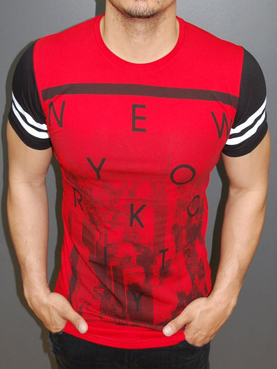 Y&R Men New York City Graphic T-Shirt - Red