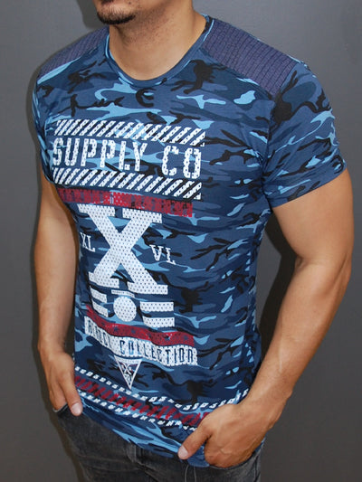 R&R Men X Camo T-shirt - Blue