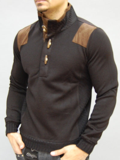 K&D MENS STYLISH MOCK TURTLE NECK SUEDE PACTHES SWEATER - BLACK - FASH STOP