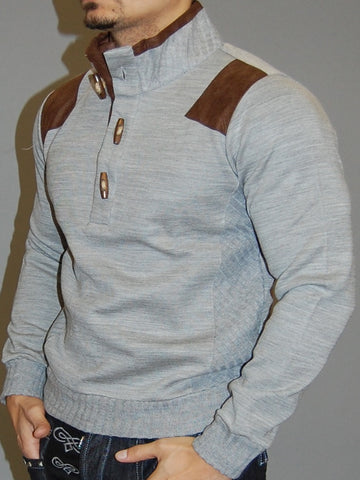 K&D MENS STYLISH MOCK TURTLE NECK SUEDE PACTHES SWEATER - GRAY