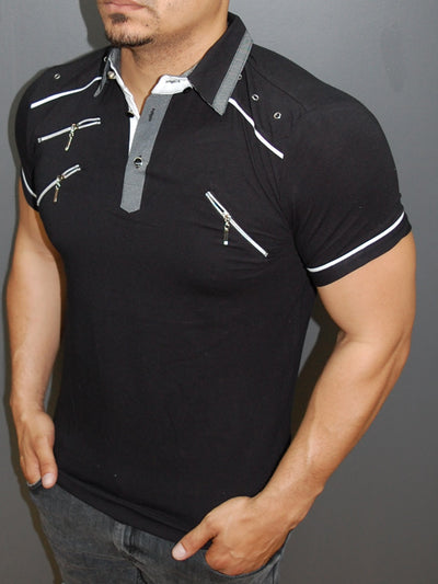 K&D Men Chest Zipper Polo -  Black - FASH STOP