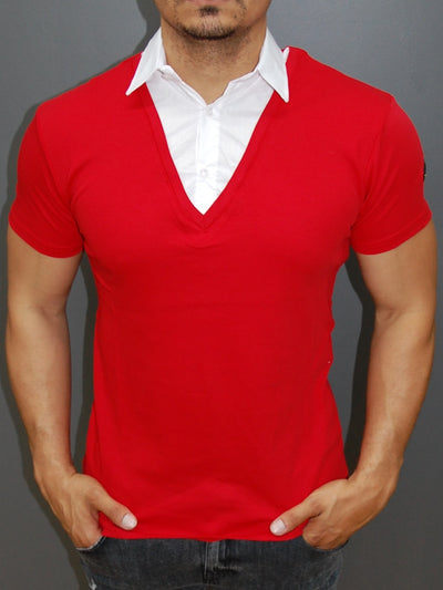 R&R Men Stylish Fused Collar T-Shirt - Red