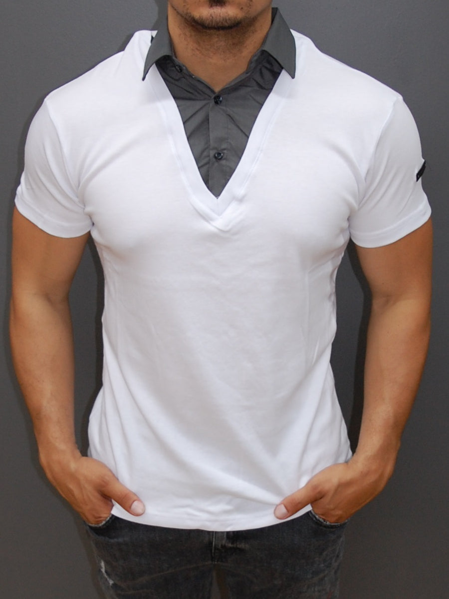 R&R Men Stylish Fused Collar T-Shirt - White