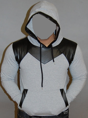 R&R MENS STYLISH FAUX LEATHER HOODIE SWEATER - GRAY