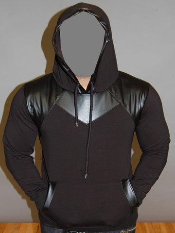 R&R MENS STYLISH FAUX LEATHER HOODIE SWEATER - BLACK