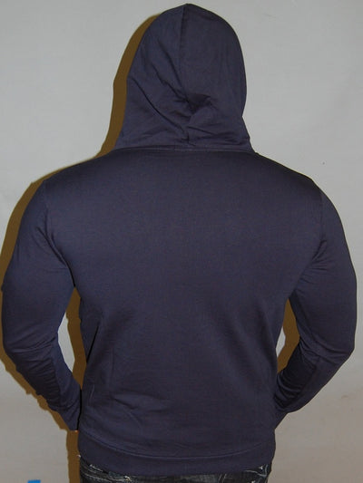 R&R MENS STYLISH FAUX LEATHER HOODIE SWEATER - NAVY BLUE