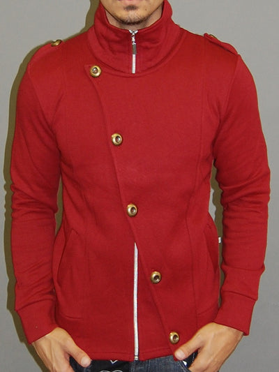 M&Q MENS STYLISH FLAP MOCK TURTLE NECK ZIP UP SWEATER - RED - FASH STOP