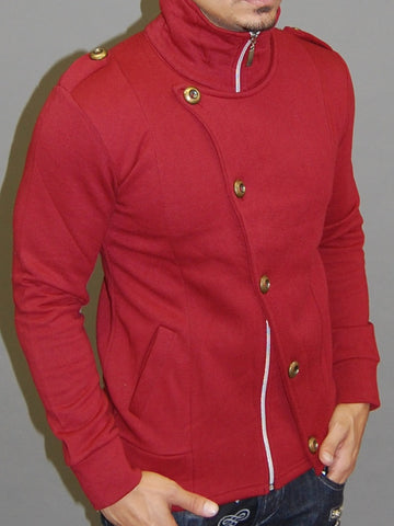 M&Q MENS STYLISH FLAP MOCK TURTLE NECK ZIP UP SWEATER - RED