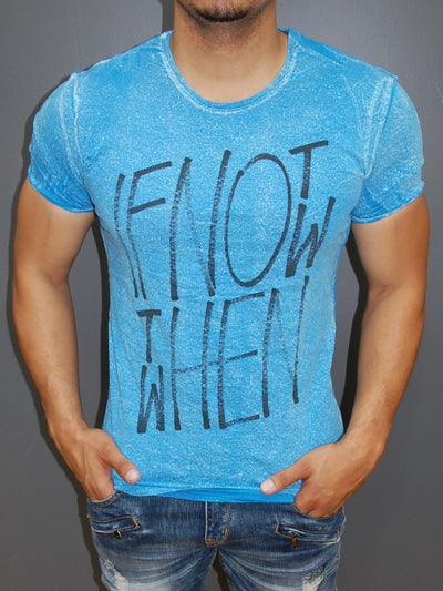 "Y&R Men ""If Not Now, Then When"" Graphic T-shirt - Blue"