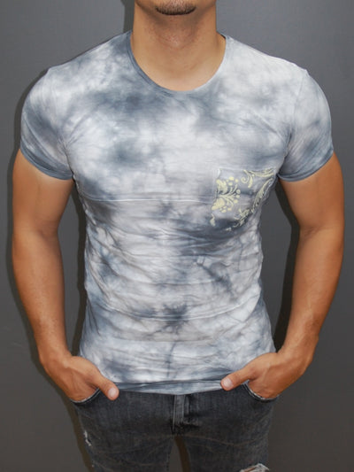 Y&R Men Tie Dyed Pocket T-shirt - Gray