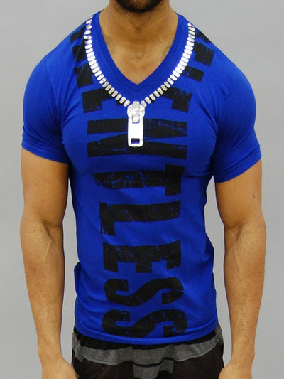 Code Alpha Relentless Zipper V-Nectk T-Shirt - Blue