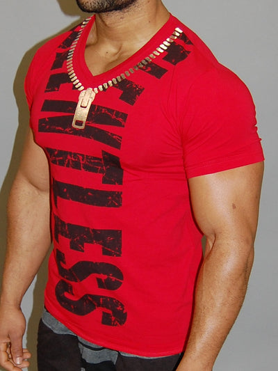 Code Alpha Relentless Zipper V-Nectk T-Shirt - Red