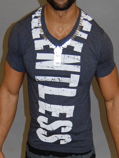 CODE ALPHA RELENTLESS ZIPPER MUSCLE FIT V-NECK T SHIRT - GRAY - FASH STOP