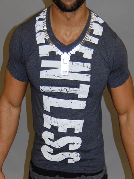 CODE ALPHA RELENTLESS ZIPPER MUSCLE FIT V-NECK T SHIRT - GRAY