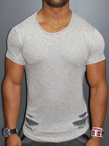 K&B Men Ripped Destroyed Deep Neck T-shirt - Tan