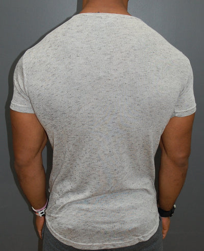 K&B Men Ripped Destroyed Deep Neck T-shirt - Tan - FASH STOP